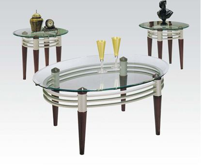 Picture of Marseille Cherry 3PCs. Coffee and End Table w/ Glass Tops