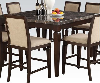 Picture of Agatha Black Marble Top Dining Table in Espresso Finish