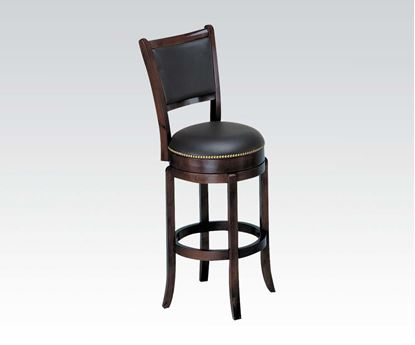 Picture of Contemporary Espresso High Back Swivel Stool