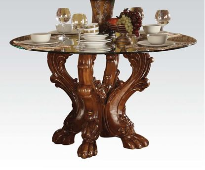 Picture of Dresden Cherry Oak Finish Glass Top Dining Table