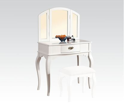 Picture of White Finish Vanity Set and Stool with Tri fold Mirror