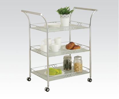 Picture of Modern Chrome Metal 3 Shelf Kitchen Cart
